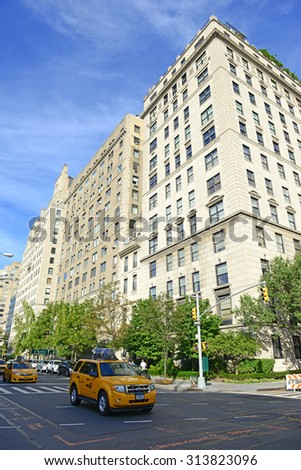 NEW YORK - CIRCA SEPTEMBER 2015. In addition to Museum attractions in the Upper East Side, luxury residential buildings on 5th Avenue are examples of some of the most expensive buildings in the city. - stock photo