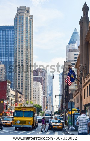 NEW YORK - CIRCA 2011: streets, architecture and buildings at downtown New York City - stock photo