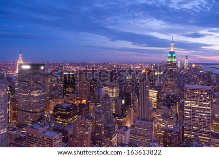 New York City aerial view - stock photo