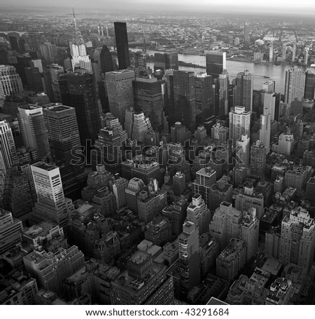 New York city aerial view in black & white - stock photo