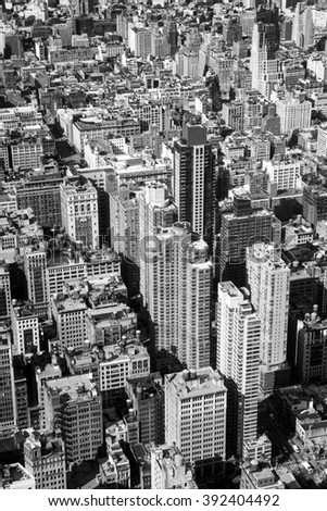 New York City aerial view with skyscrapers - stock photo