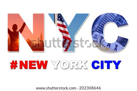 New York City America travel & tourist montage, The Empire State Building, skyline, yellow taxi cab, stars and stripes flag, hashtag and NYC  - stock photo