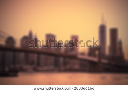 New York City and Brooklyn Bridge Blur at sunset - stock photo