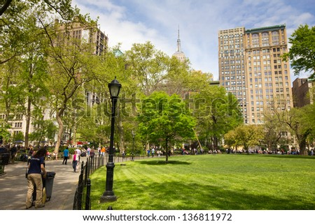 NEW YORK CITY - APR 20:  Historic Madison Square Park in New York City on Apr 20, 2012. Named for James Madison, 4th President of the USA, Madison Square was formally opened as a public park in 1847 - stock photo