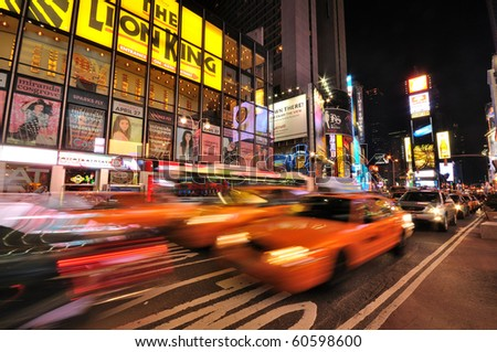 NEW YORK CITY - APR 16: Times Square, featured with Broadway Theaters and huge number of LED signs, is a symbol of New York City and the United States, April 16, 2010 in Manhattan, New York City, USA. - stock photo