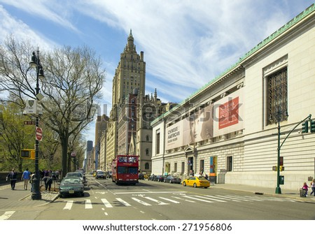 NEW YORK CITY - APRIL 19: A Big Bus Tour passing in front of the New York Historial Society Museum and Library Midtown Manhattan as seen on April 19, 2015 - stock photo