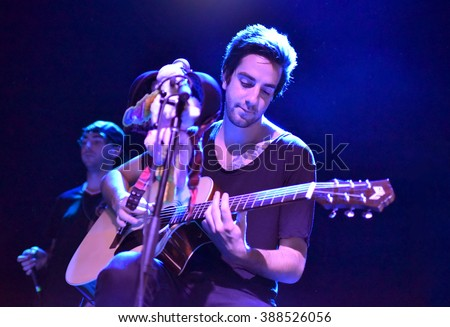 NEW YORK CITY - APRIL 7,2015: All Time Low Show at Rough Trade Records, lead guitarist Jack Bassam Barakat perfomed