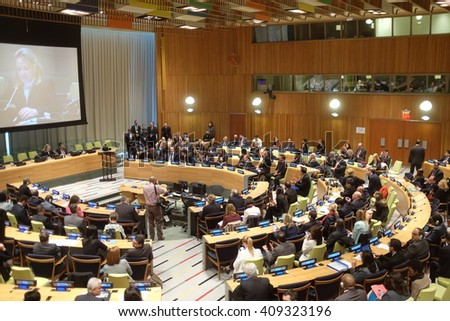NEW YORK CITY - APRIL 21 2016: Bolivian president Evo Morales Ayma appeared before the 70th session of the General Assembly on the world drug problem denouncing  policies aimed at coca eradication - stock photo