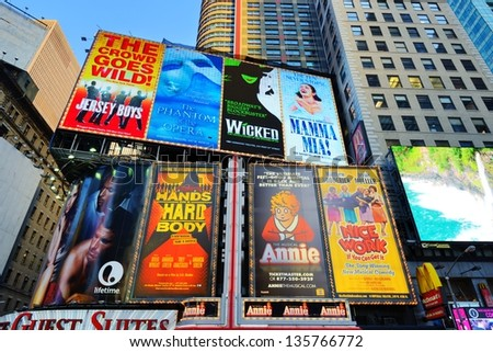 NEW YORK CITY - APRIL 4: Broadway signs April 4, 2013 in New York, NY. With over 40 prominent theater houses, Broadway theater is considered one of the world's highest levels of commercial theatre. - stock photo