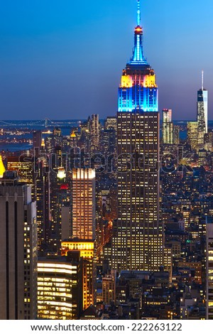NEW YORK CITY - APRIL 01: Cityscape view of Manhattan with Empire State Building, New York City, USA at night on April 01, 2014.  - stock photo