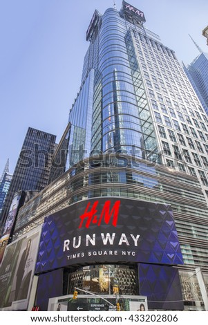 NEW YORK CITY - APRIL 26, 2015: H&M in Times Square. H & M Hennes & Mauritz AB is a Swedish multinational retail-clothing company, known for its fast-fashion clothing