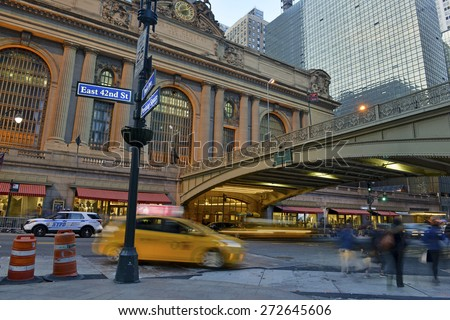 NEW YORK CITY. APRIL 25, 2015. Known by commuters as a busy transportation hub of the city, Grand Central Terminal is also popular tourist attraction located in midtown Manhattan. - stock photo