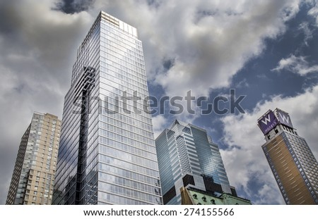 New York City - 18 APRIL, 2015: Low angle view of modern architecture cityscape