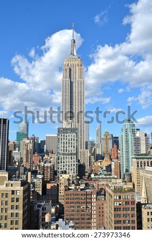 New York City - April 29, 2015: New York City Manhattan midtown view with Empire State Building, New York City, USA.