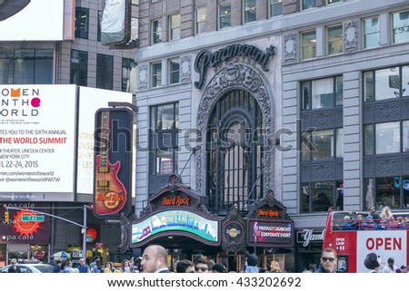 NEW YORK CITY - APRIL 26, 2015: The Paramount Theatre was opened in 1926. It became home to the Hard Rock Cafe in 2003.