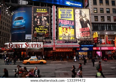 NEW YORK CITY - APRIL 14: Times Square is a symbol of New York City and the United States, April 14, 2011 in Manhattan, New York City. USA. - stock photo