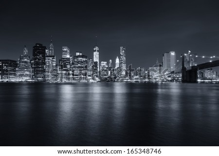 New York City at night - stock photo