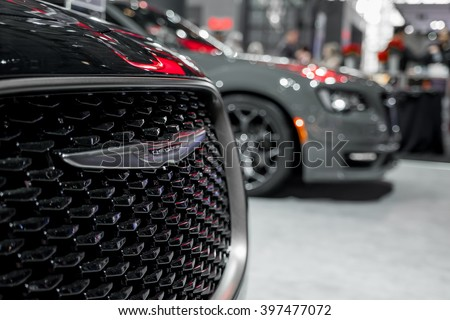 New York City - 3/25/16 - At the New York International Auto Show, Chrysler displays their updated 300 lineup. - stock photo