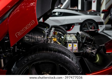 New York City - 3/25/16 - At the New York International Auto Show, the complex engine of the new Koenigsegg Regera  - stock photo