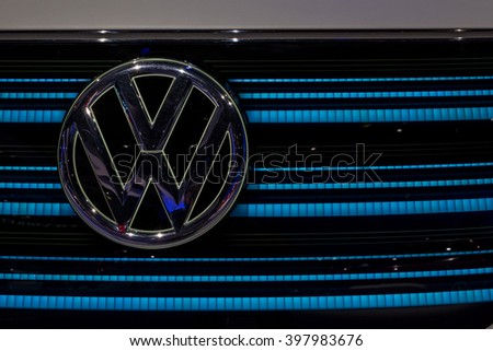 New York City - 3/25/16 - At the New York International Auto Show, the futuristic front end of a new VW minivan  - stock photo