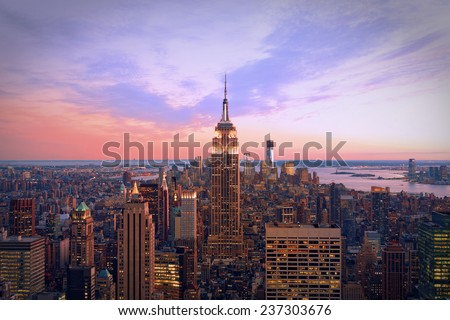 New York city at twilight - stock photo