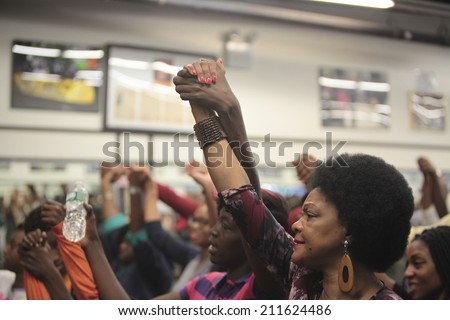 NEW YORK CITY - AUGUST 16 2014: Rev Al Sharpton's National Action Network held a rally to address the ongoing violence in Ferguson, Missouri attended by Congressman Hakeem Jeffries & the Garner family - stock photo