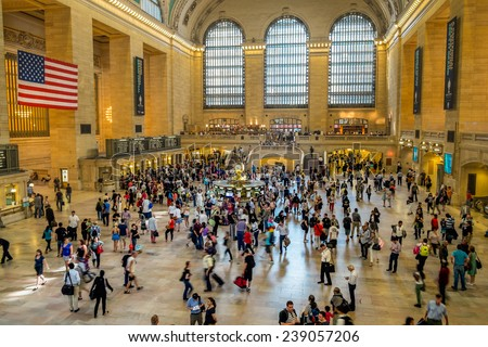 NEW YORK CITY - AUGUST 31st: Main hall of Grand Central Station on August 31 2013, in New York, NY. The terminal is the largest train station in the world by number of platforms.  - stock photo