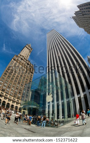 NEW YORK CITY - AUGUST 05: The flagship Apple Store August 05 , 2013 in New York, NY. The cube glass entrance was designed by Bohlin Cywinski Jackson and has received numerous architectural awards.  - stock photo