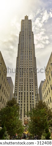 NEW YORK CITY - AUGUST 20: The GE Building the centerpeice of Rockefeller Center August 20, 2015 New York, NY. High resolution. - stock photo
