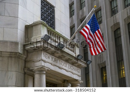 NEW YORK CITY - AUGUST 30, 2014: The side entrance of New York Stock Exchange, New York City. The Exchange building was built in 1903. - stock photo
