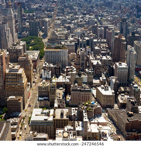 New York City - Birds Eye View of Manhattan Buildings - stock photo