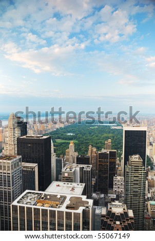 New York City Central Park aerial view in Manhattan - stock photo