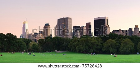 New York City Central Park at dusk panorama with Manhattan skyline and skyscrapers. - stock photo