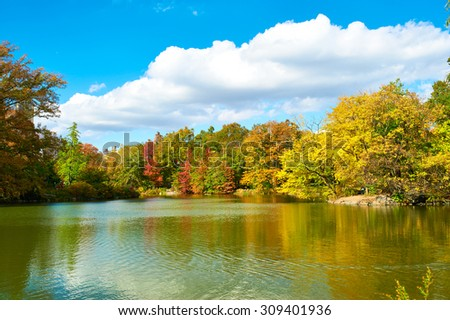 New York City Central Park in autumn day - stock photo