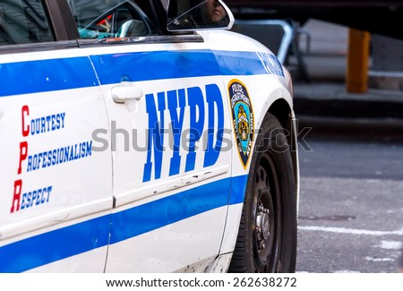 New York City circa dec 2014: Police car parked along Manhattan street - stock photo