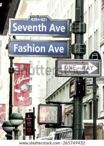 New York City circa dec 2014 -Signal of Seventh ave the fashion street in Manhattan vintage effect - stock photo