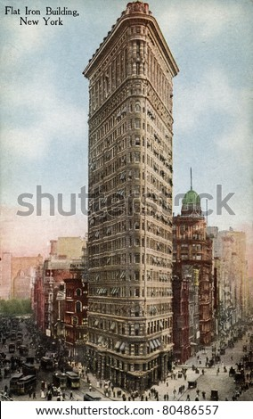 NEW YORK CITY – CIRCA 1912: Vintage postcard depicting the Flatiron Building in New York City, which was the first steel frame construction ever attempted, New York City, USA, circa 1912. - stock photo