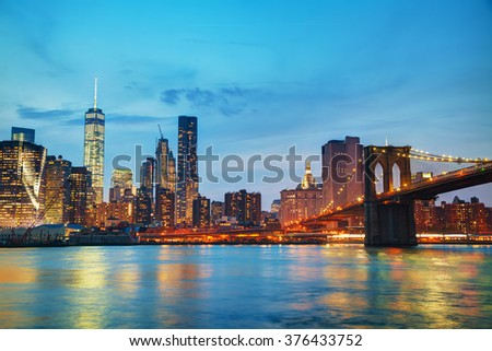 New York City cityscape in the evening after sunset - stock photo