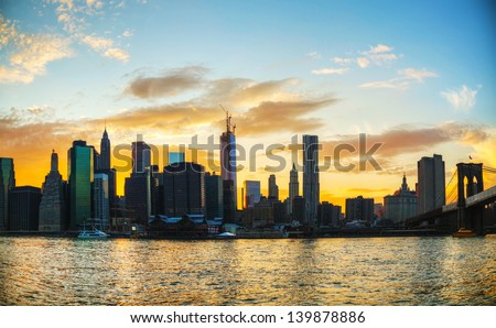 New York City cityscape in the evening at sunset