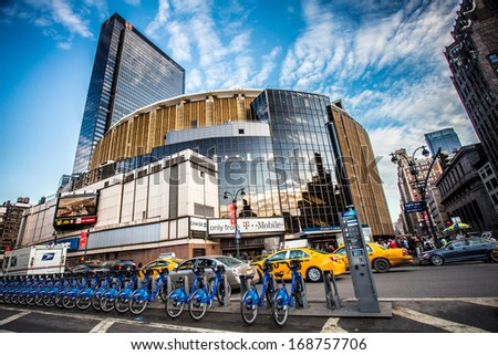NEW YORK CITY  -DEC 2:  Madison Square Garden in NYC on Dec 21, 2013.  This landmark multi-purpose indoor arena, located above Penn Station opened in February 1968. - stock photo