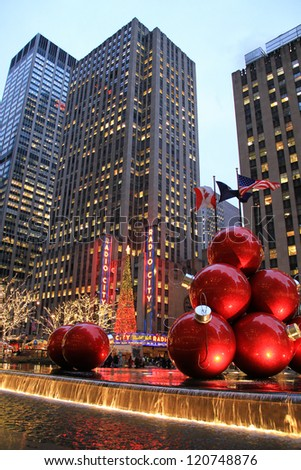 NEW YORK CITY - DEC. 5, 2011: New York City landmark, Radio City Music Hall in Rockefeller Center as seen on Dec. 5, 2011 decorated with Christmas decorations in Midtown Manhattan NYC