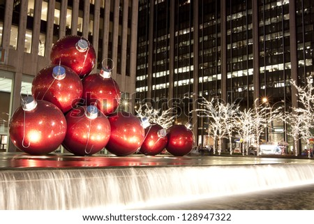 NEW YORK CITY - DEC. 20: New York City landmark, Radio City Music Hall in Rockefeller Center as seen on Dec. 20, 2010 decorated with Christmas decorations in Midtown Manhattan NYC - stock photo