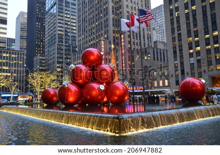 NEW YORK CITY - DECEMBER 17, 2013: Giant Christmas Ornaments in Midtown Manhattan on December 17, 2013, New York City, USA.