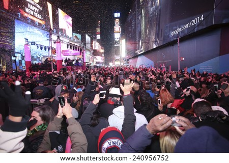 NEW YORK CITY - DECEMBER 31 2014: more than one million celebrants marked the new year in Times Square - stock photo
