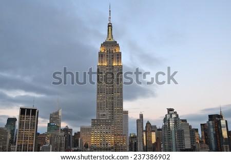 NEW YORK CITY - DECEMBER 12, 2014: New York City Manhattan midtown view with Empire State Building, New York City, USA. - stock photo