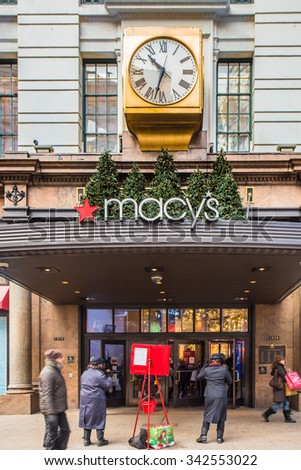NEW YORK CITY - DECEMBER 12, 2013:  Pictured here is a view of Macy's flagship store in Herald Square in midtown Manhattan at Christmastime.  - stock photo
