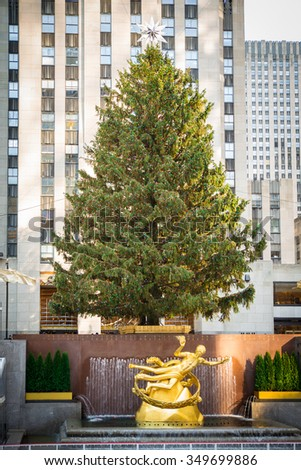 NEW YORK CITY - DECEMBER 4, 2015:   View at historic Rockefeller Plaza in Manhattan during the Christmas season with Christmas Tree. - stock photo