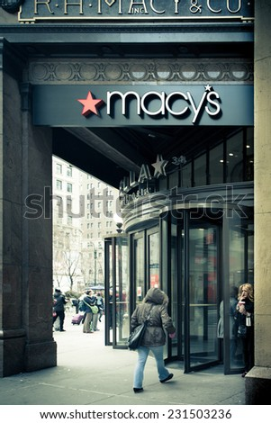 NEW YORK CITY - DECEMBER 12, 2013:  View of Fifth Avenue entrance at historic Macy's Department Store in Herald Square.  - stock photo