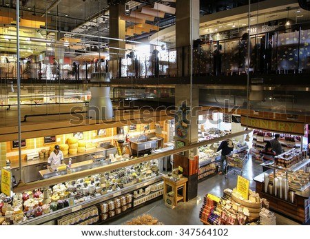 NEW YORK CITY - DECEMBER 5 2015: Whole Foods Markets, with 10 locations in New York City, has been under investigation for allegedly overcharging customers since June 2015. Interior Whole Foods Bowery - stock photo