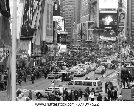 NEW YORK CITY -Dicember 13 : Times Square, featured with Broadway Theaters , is a symbol of New York City and the United States, Dicember 13, 2013 in Manhattan, New York City. USA. - stock photo